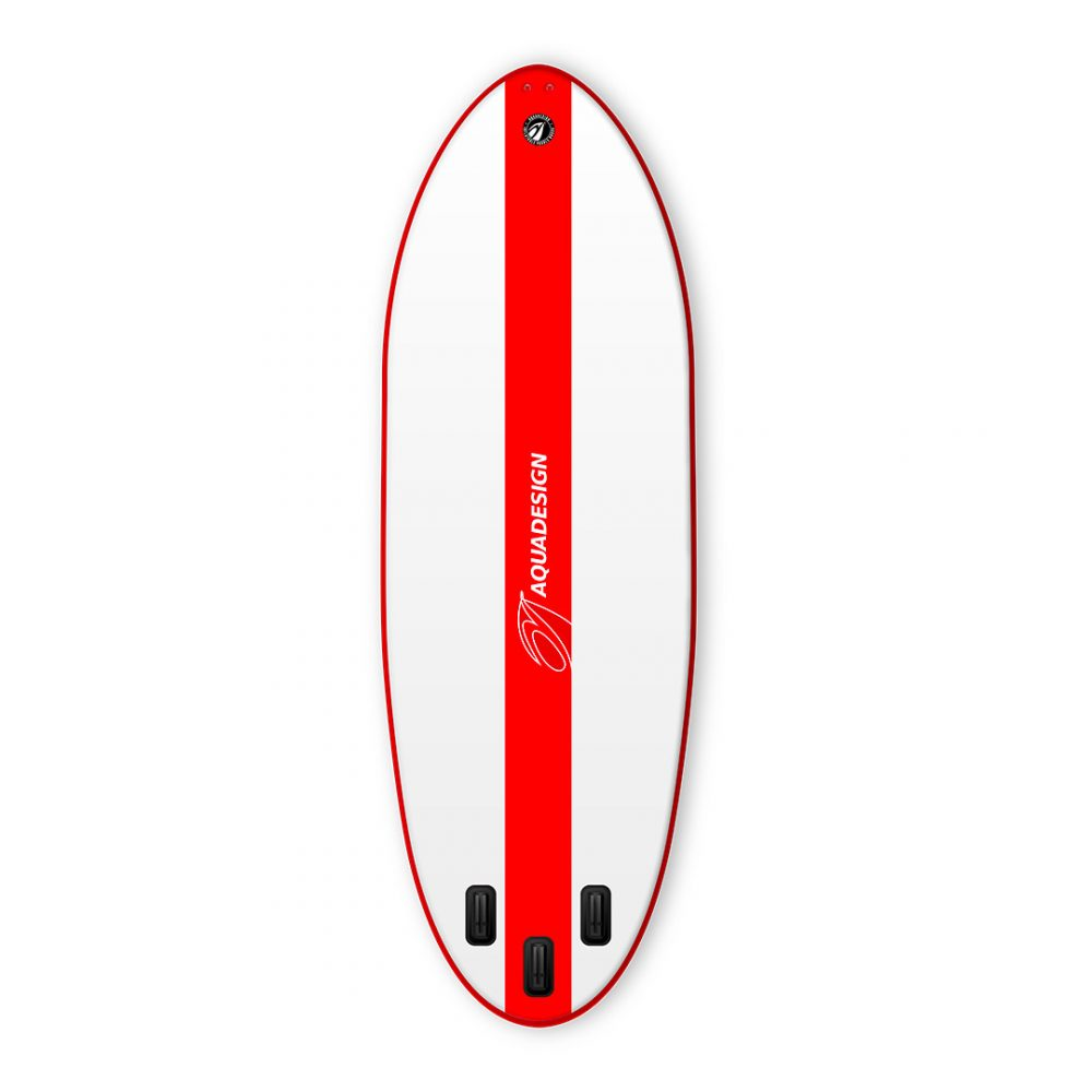 STAND UP PADDLE BOARD GONFLABLE GEANT PVC MEGACRAFT 17'1 AQUADESIGN VUE DERRIERE ROUGE