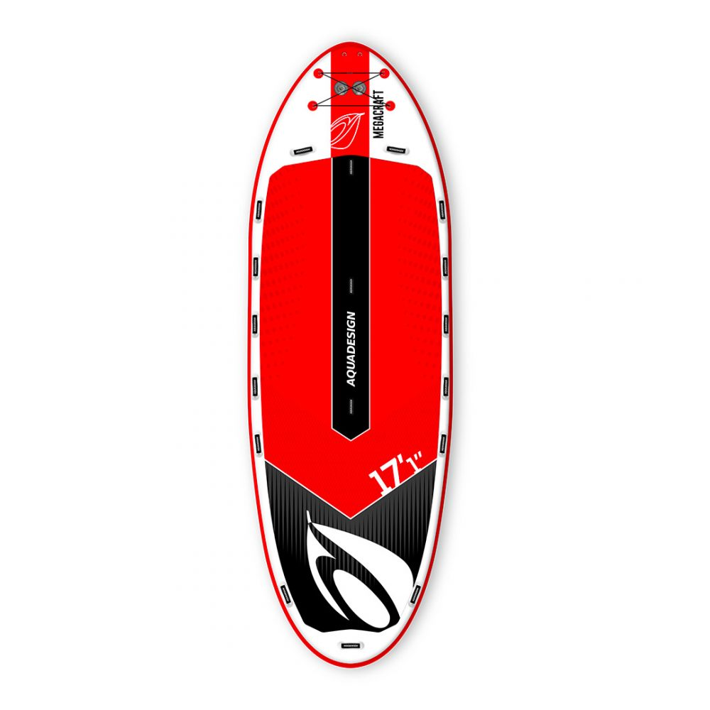 STAND UP PADDLE BOARD GONFLABLE GEANT PVC MEGACRAFT 17'1 AQUADESIGN VUE DEVANT ROUGE
