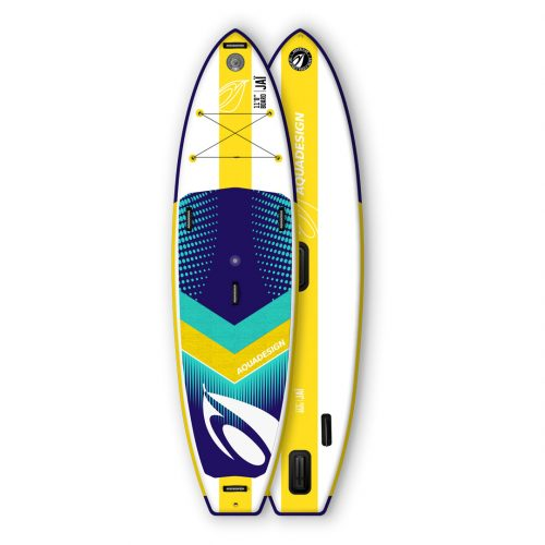 STAND UP PADDLE BOARD GONFLABLE PVC JAI AQUADESIGN VUE DEVANT ET DERRIERE