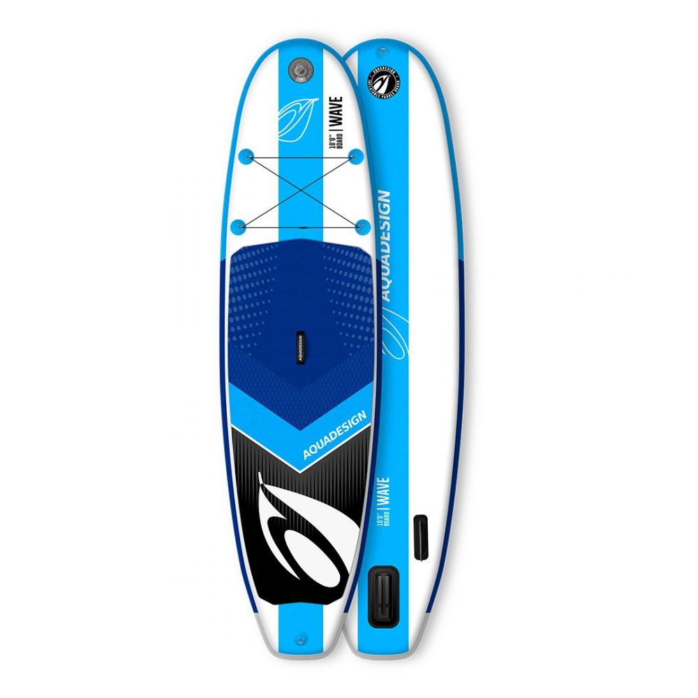 STAND UP PADDLE BOARD GONFLABLE PVC WAVE AQUADESIGN VUE DEVANT ET DERRIERE