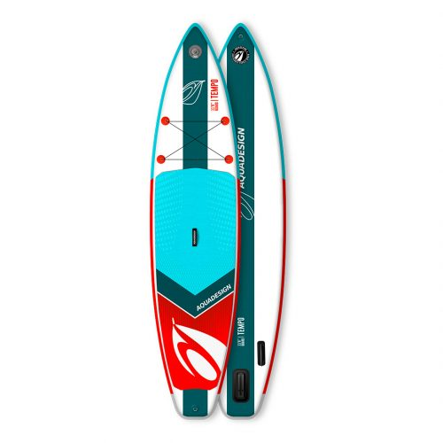 STAND UP PADDLE BOARD GONFLABLE PVC TEMPO AQUADESIGN VUE DEVANT ET DERRIERE