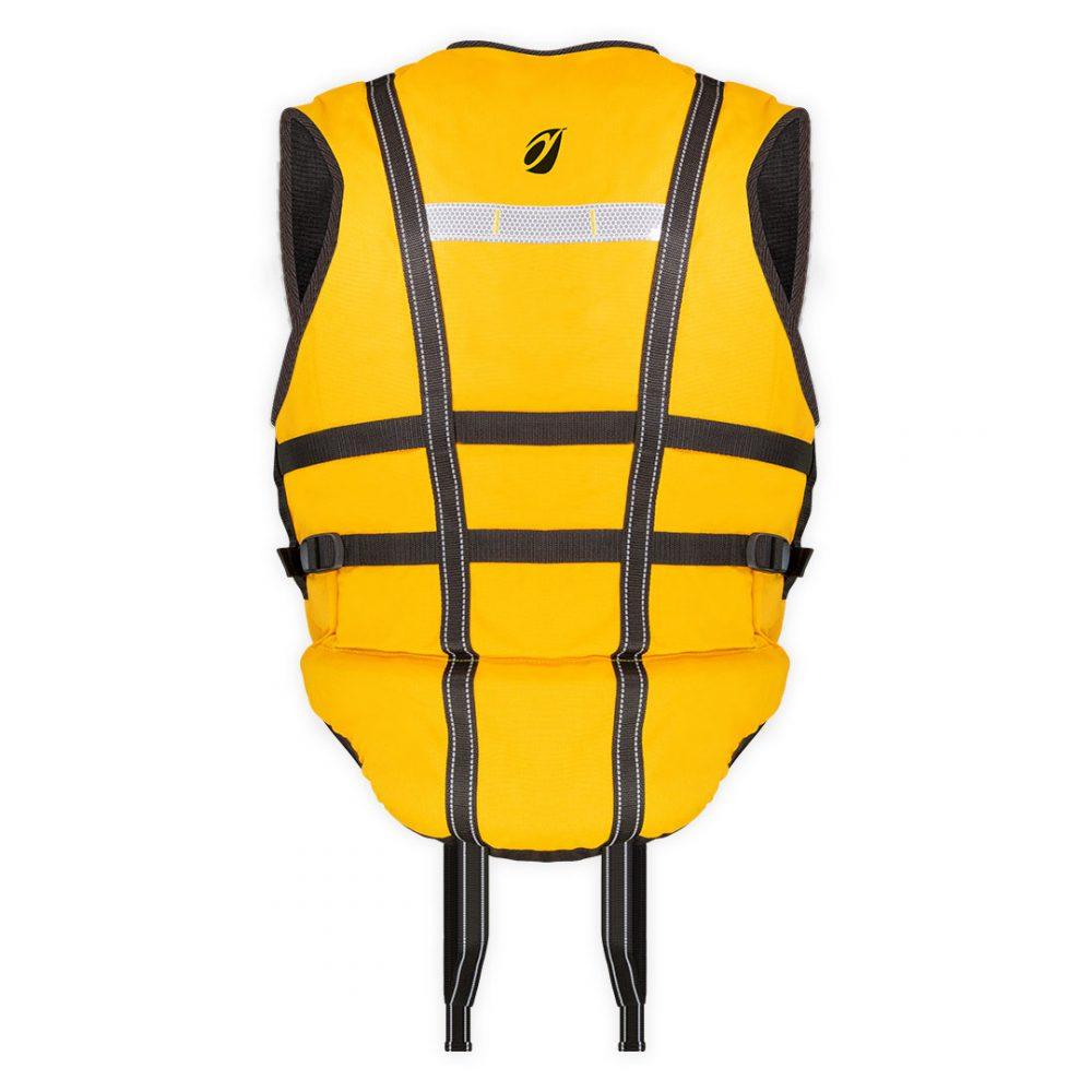 Gilet nage en eaux-vives Hydroflow vue de dos jaune