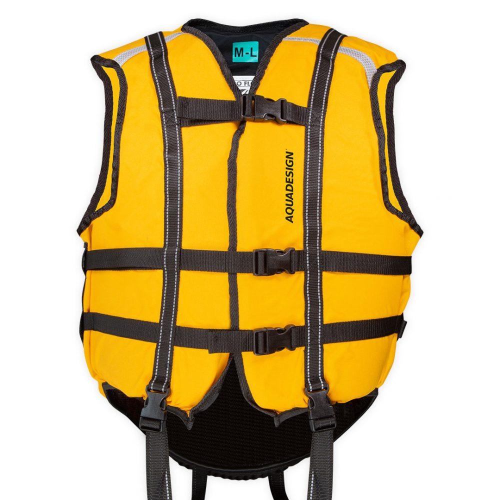 Gilet nage en eaux-vives Hydroflow vue de face jaune coupé