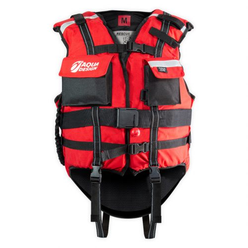 Red rescue safety vest front
