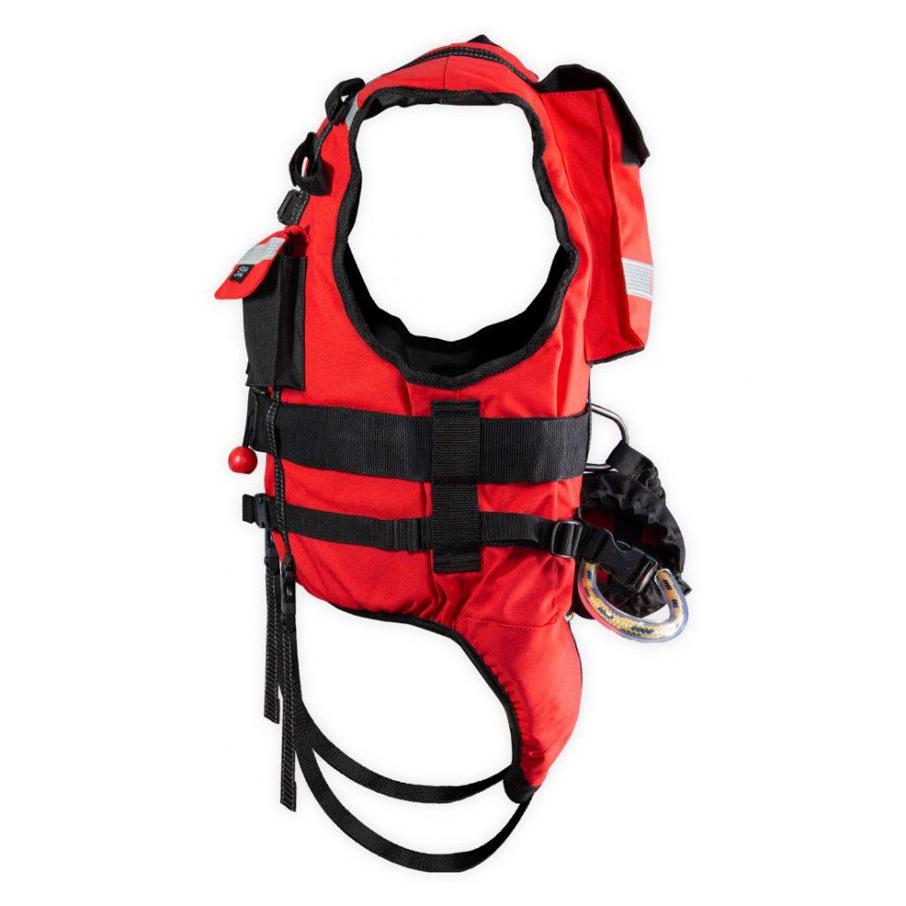 Gilet sécurité rescue rouge coté