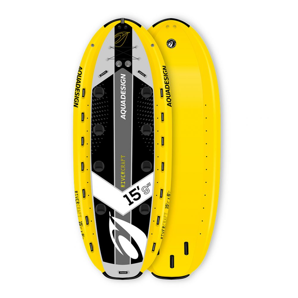 STAND UP PADDLE BOARD GONFLABLE PVC RIVERCRAFT AQUADESIGN VUE DEVANT ET DERRIERE
