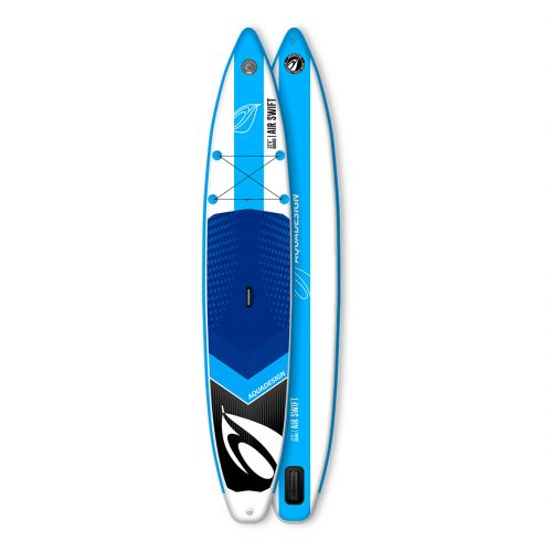 STAND UP PADDLE BOARD GONFLABLE PVC AIR SWIFT AQUADESIGN VUE DEVANT ET DERRIERE
