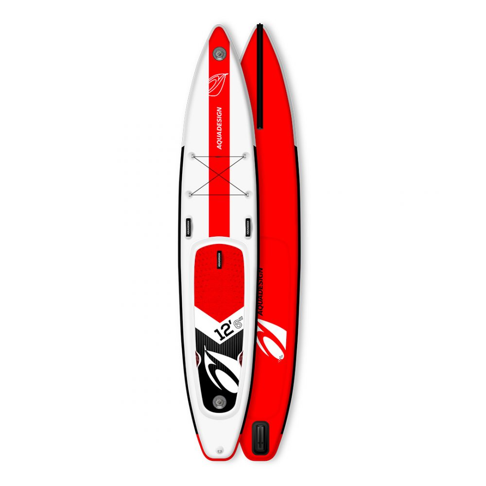 STAND UP PADDLE BOARD GONFLABLE PVC BI-DROP AQUADESIGN VUE DEVANT ET DERRIERE
