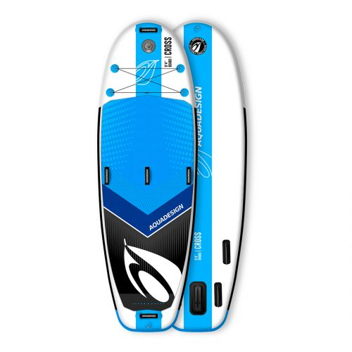 STAND UP PADDLE BOARD PVC CROSS AQUADESIGN VUE DEVANT ET DERRIERE