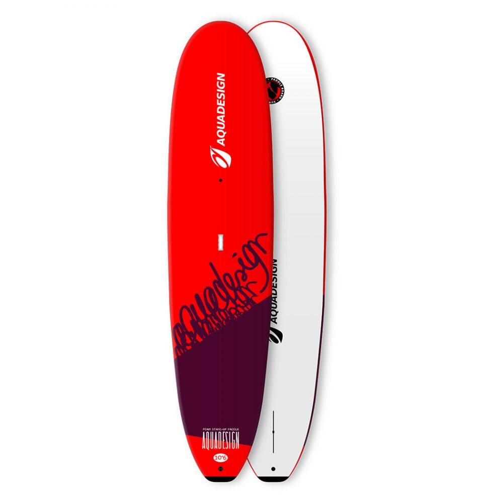 STAND UP PADDLE BOARD MOUSSE FOAM 10'6 AQUADESIGN VUE DEVANT ET DERRIERE
