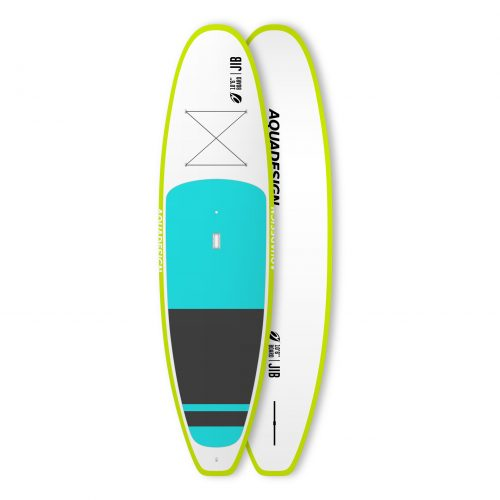 STAND UP PADDLE RIGIDE JIB AQUADESIGN VUE DEVANT ET DERRIERE