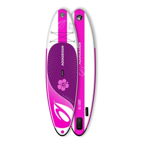 STAND UP PADDLE BOARD GONFLABLE PVC LEESY AQUADESIGN VUE DEVANT ET DERRIERE