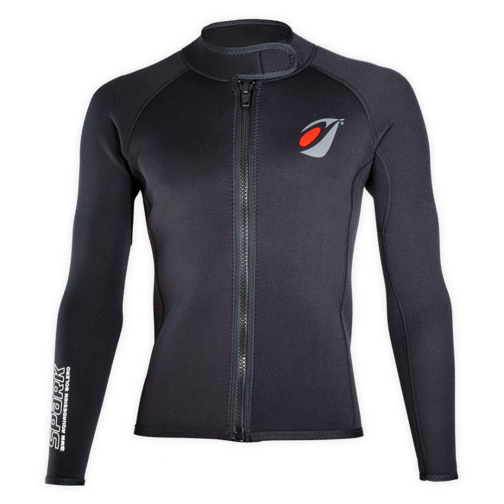 Bolero Jacket Neoprene Spark 3mm with ZIP ideal rafting, canyoning front view