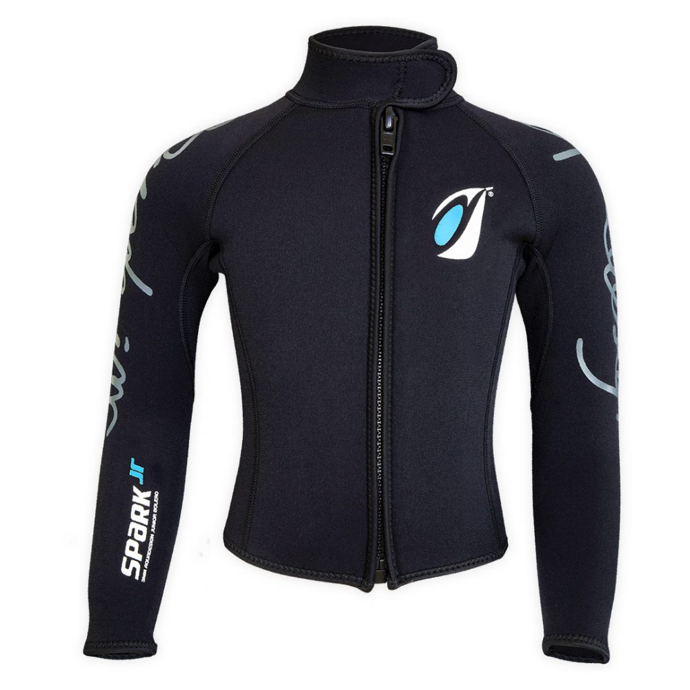 Bolero Jacket Neoprene Spark Junior 3mm with ZIP ideal rafting, canyoning front view
