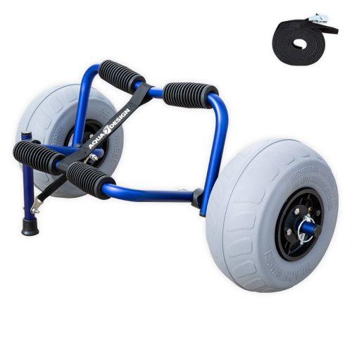 Chariot de transport kayak Beach Aquadesign avec roues gonflables. Version bleu vue d'angle