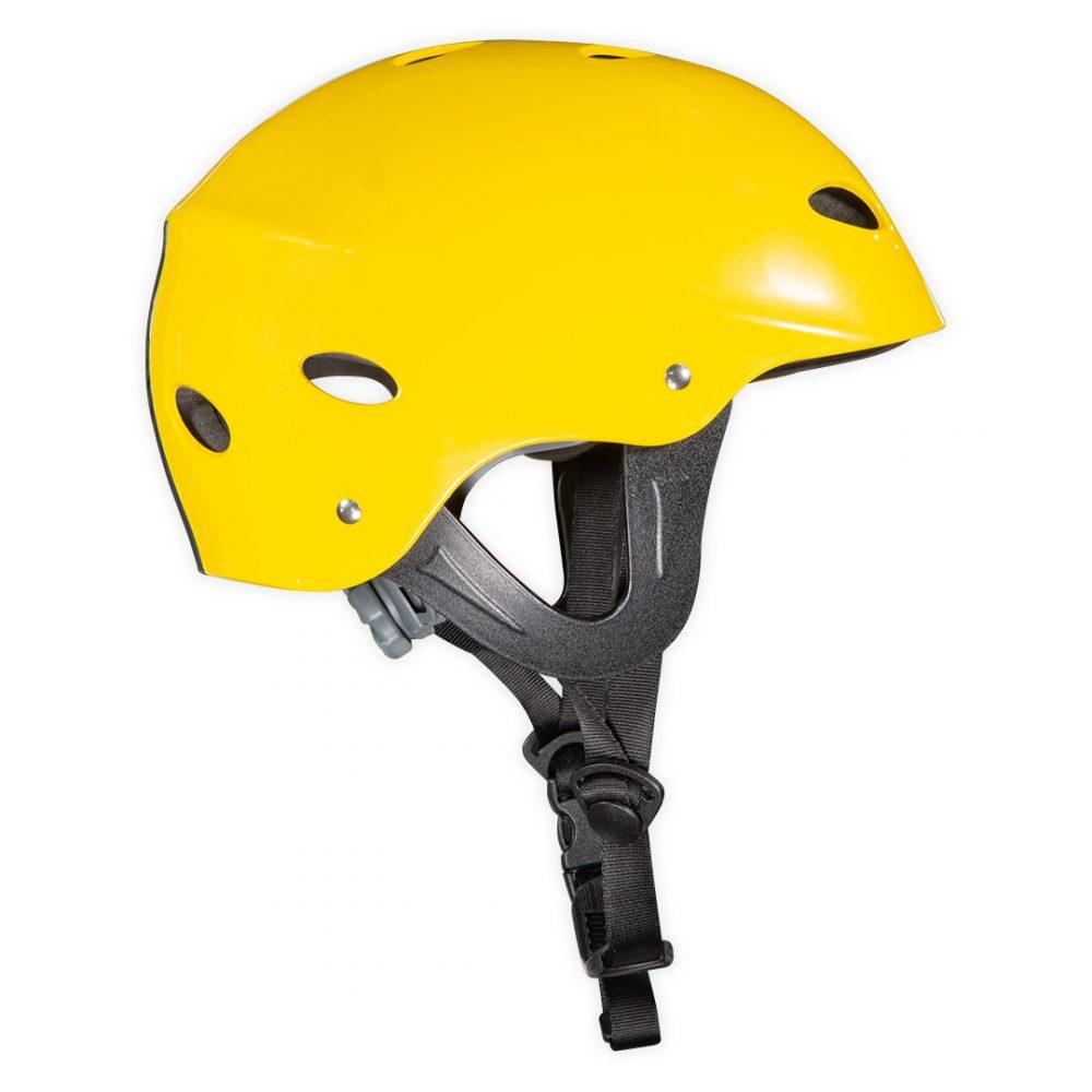 Casque Stoïc canoë kayak rafting norme CE JAUNE réglable vue de côté