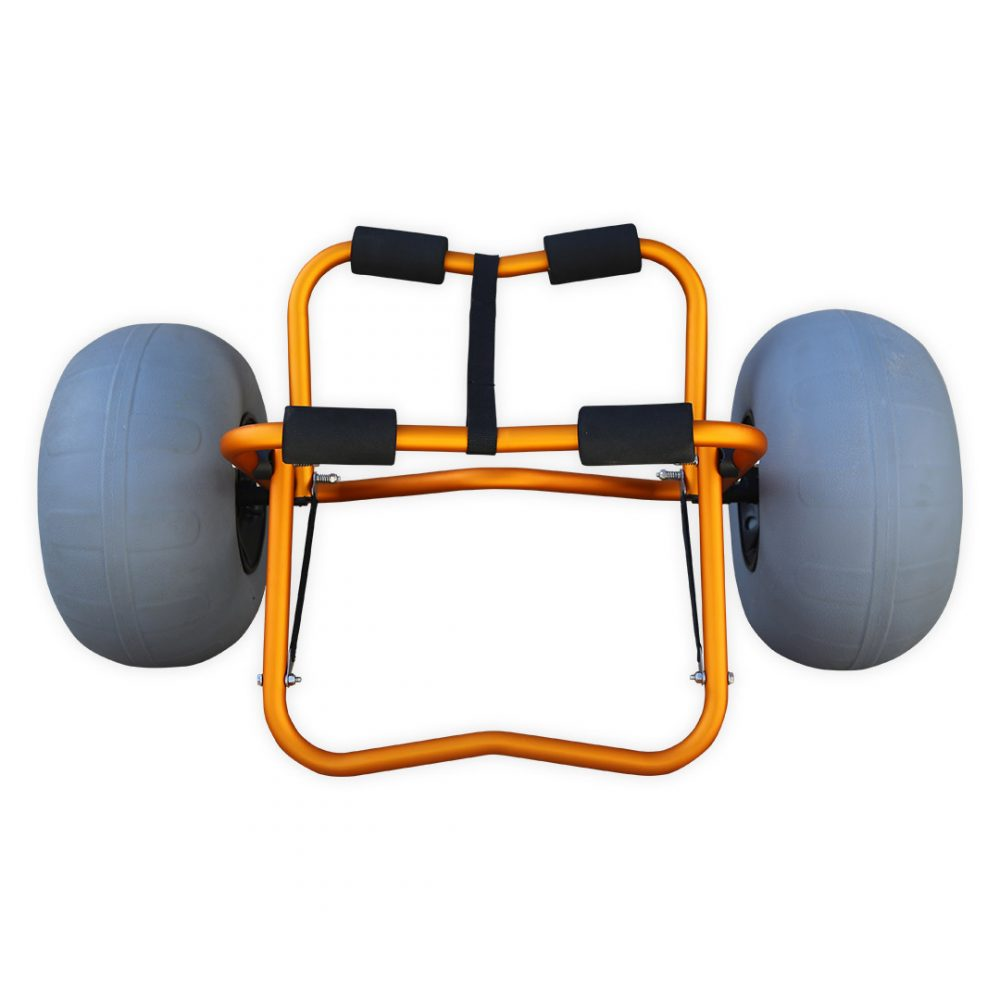 Chariot de transport kayak Aquadesign Balloon avec roues gonflables sable et cailloux. Vue de face