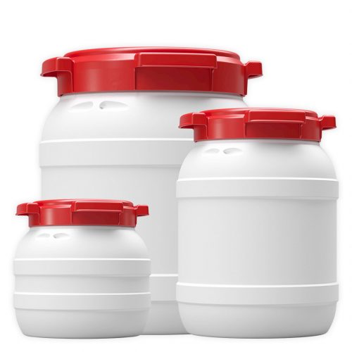 Range of Curtec white and red plastic kayak waterproof containers