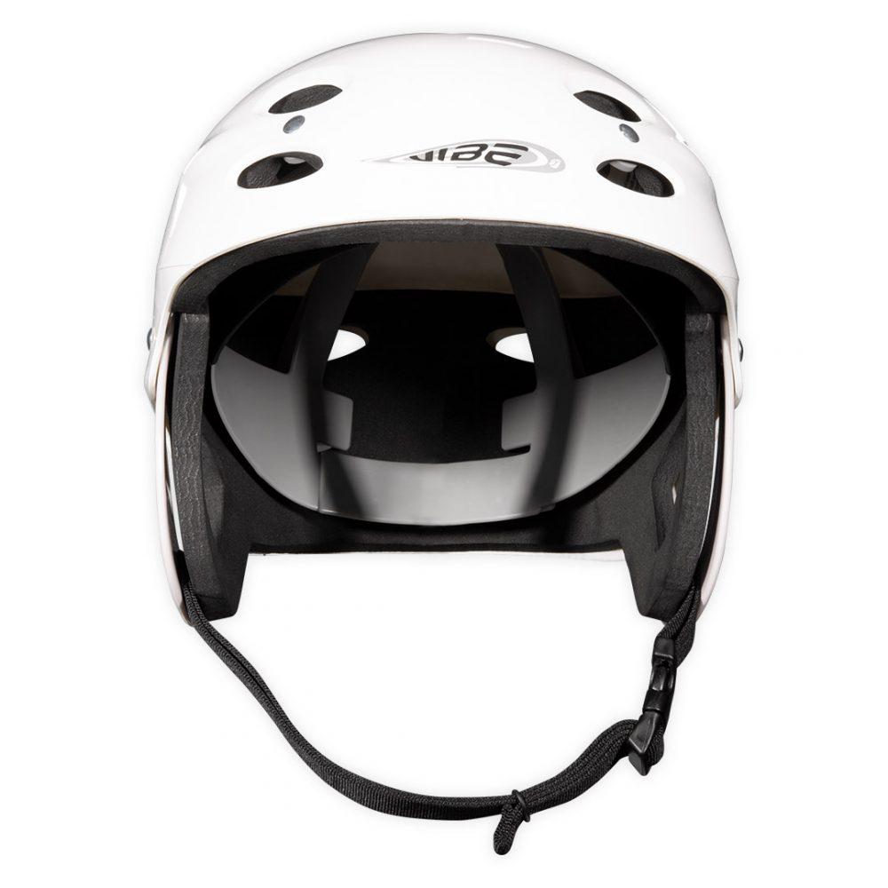 Casque Vibe Aquadesign Blanc vue de face dédié à la pratique de sports nautiques.