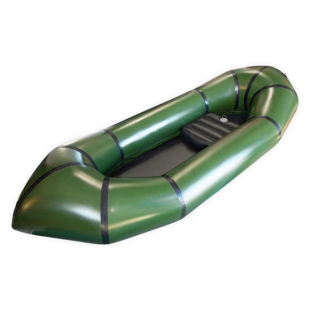 Packraft TPU léger vert militaire vue d'angle