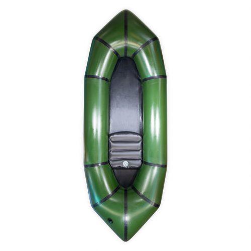 Packraft TPU léger vert militaire vue de face