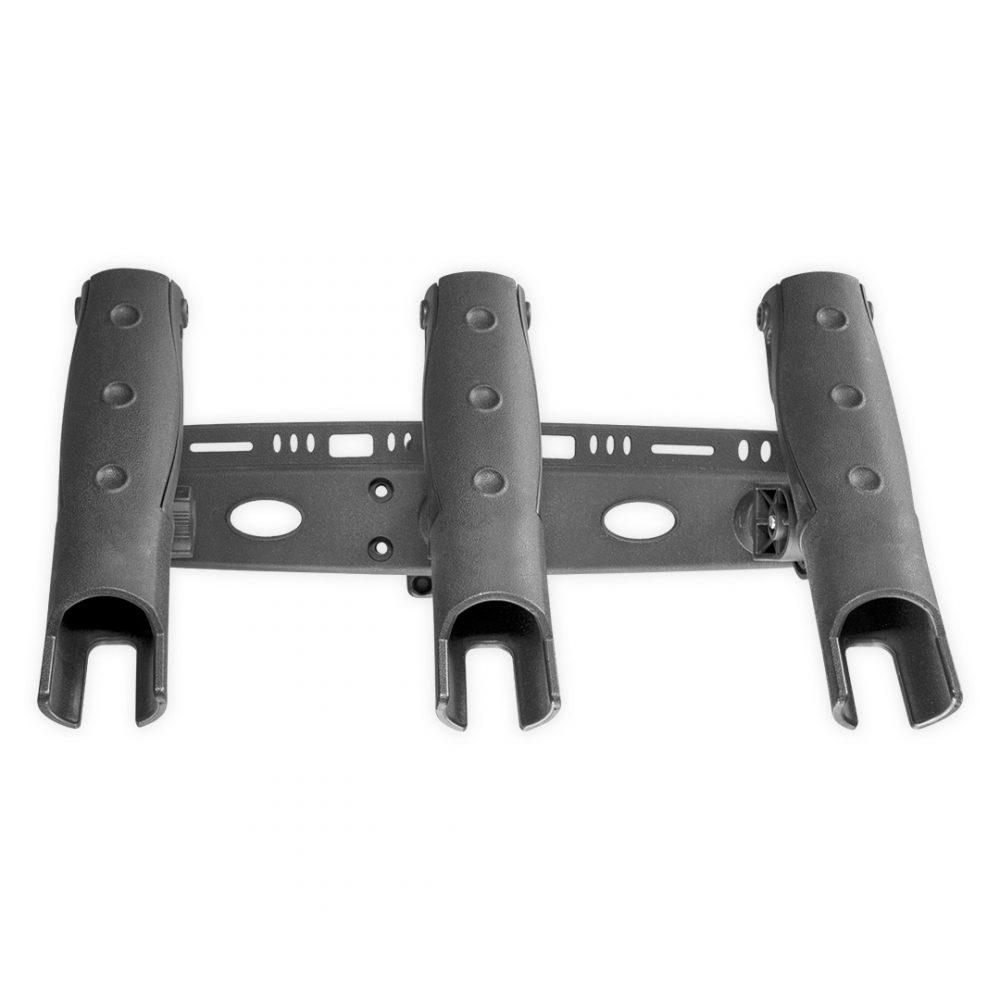 Triple fishing rod carrier for kayak or rigid boat. View from above.