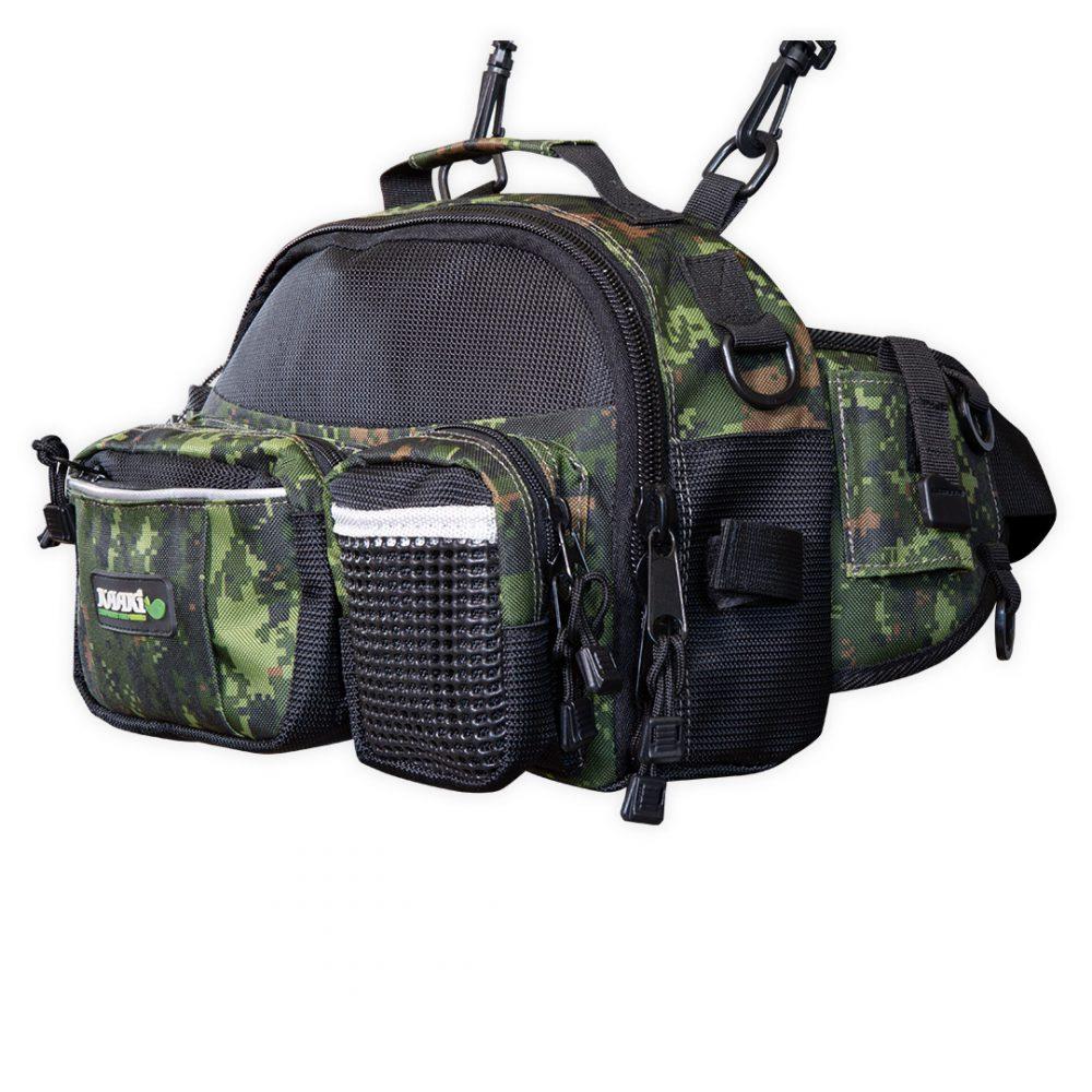 Sac à leurres Kaaki pour la pêche type sacoche couleur camouflage vue d'angle