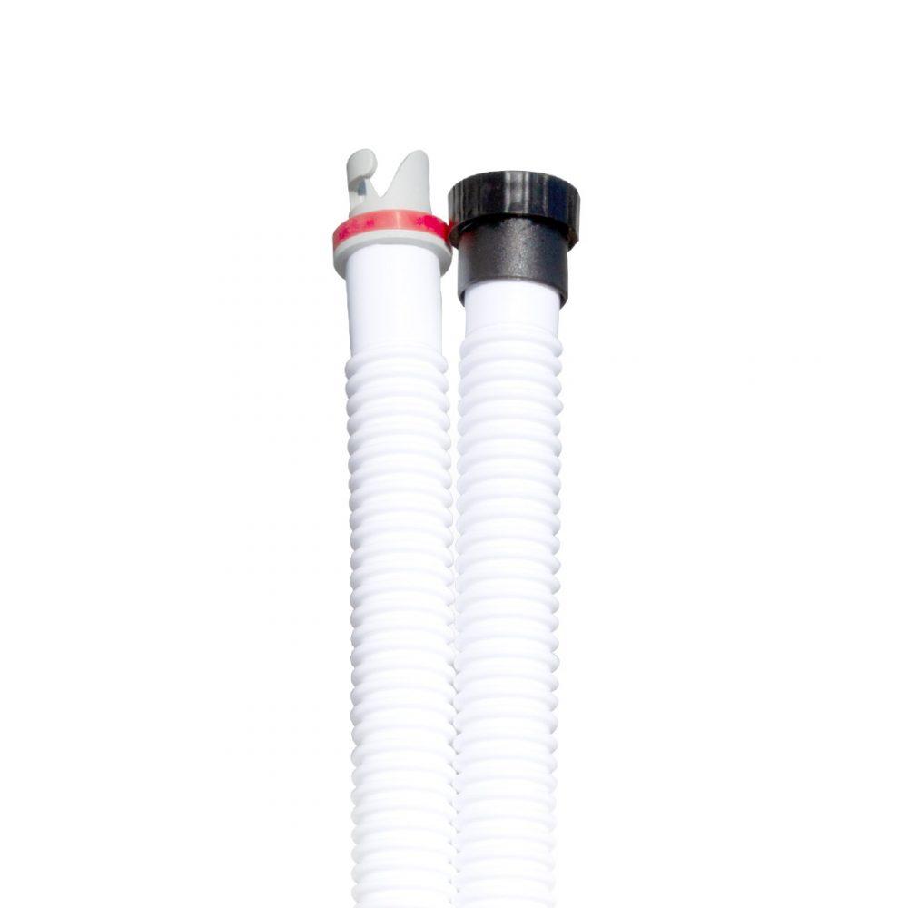 Pompe haute pression D-Wings avec manomètre et pieds rétractables détail tuyau.