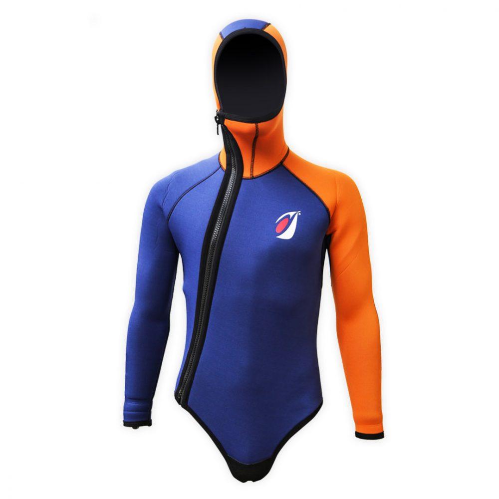 Boléro néoprène 5mm Ice Aquadesign orange et bleu avec capuche et sous cutale vue de face