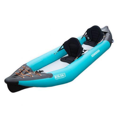 Kayak gonflable PVC Koloa Aquadesign avec fond dropstitch et étrave pour deux personnes vue d'angle avant gauche