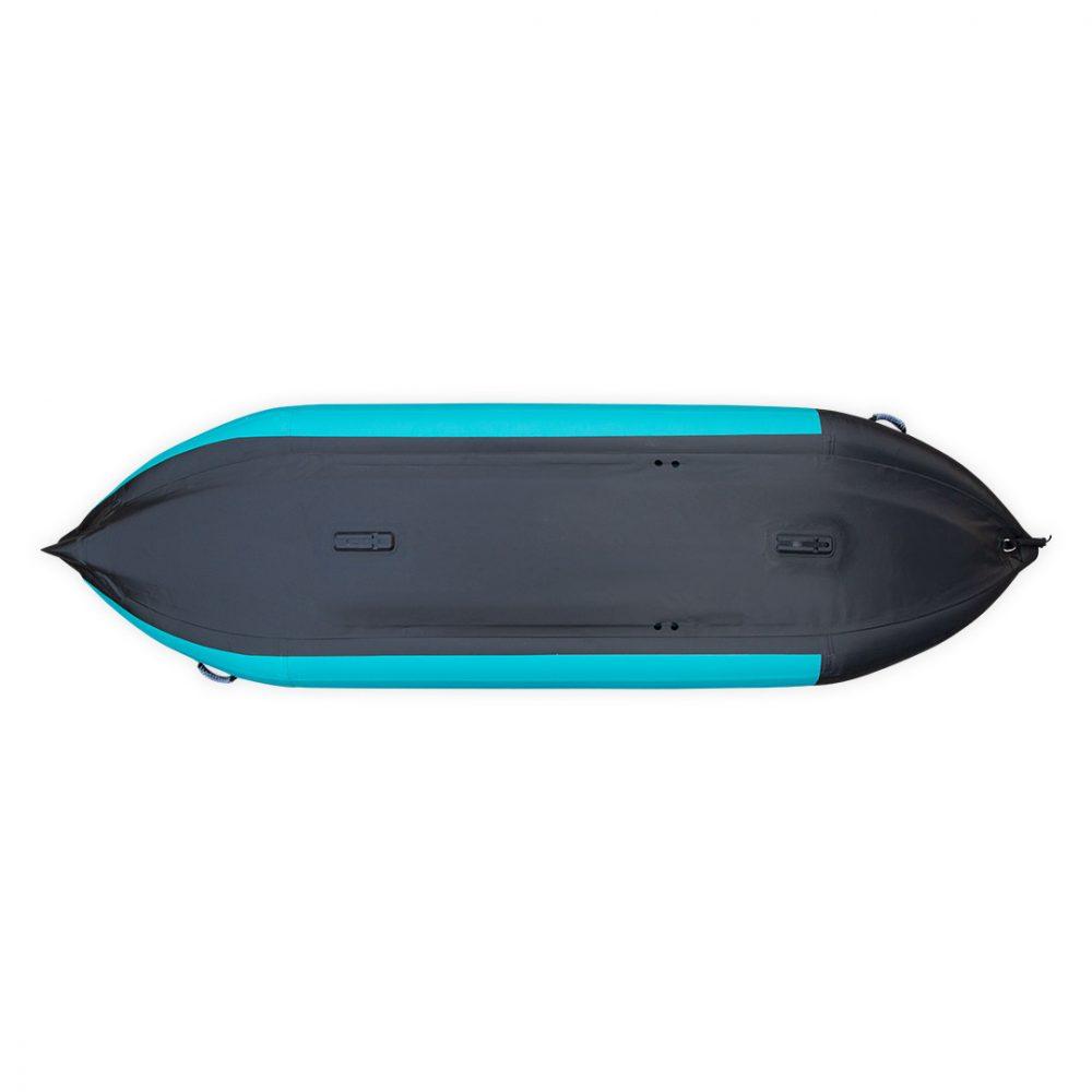 Kayak gonflable PVC Koloa Aquadesign avec fond dropstitch et étrave pour deux personnes vue de dessous
