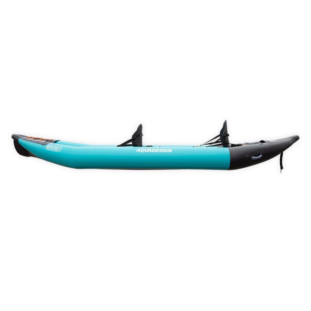 Kayak gonflable PVC Koloa Aquadesign avec fond dropstitch et étrave pour deux personnes vue de côté gauche