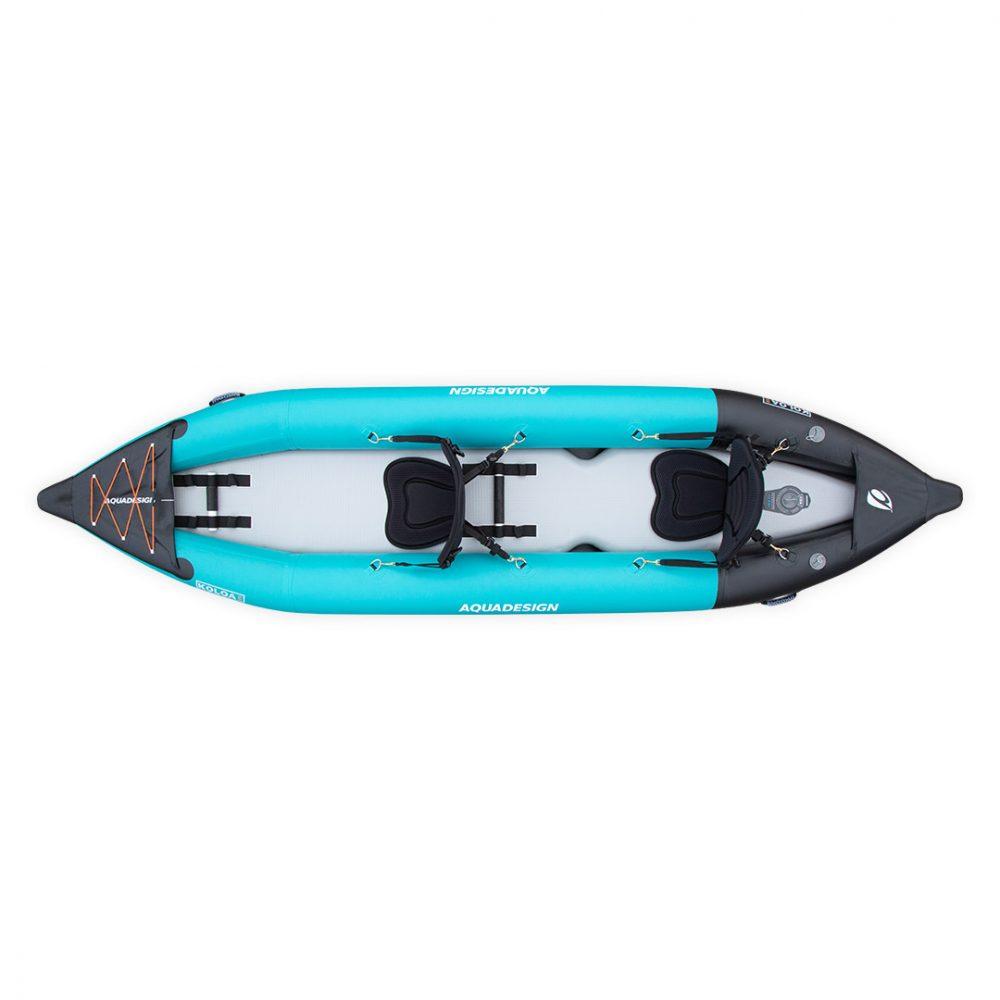 Kayak gonflable PVC Koloa Aquadesign avec fond dropstitch et étrave pour deux personnes vue de dessus
