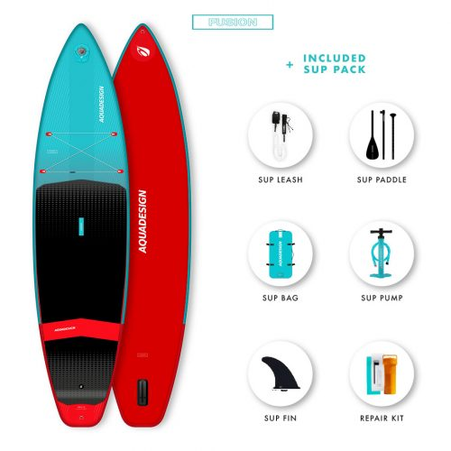 SUP Gonflable Tempo Aquadesign - Technologie Fusion Dropstitch vitesse et stabilité- Pack complet web spécial Stand Up Paddle Board.