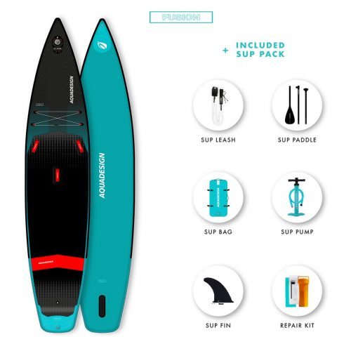 SUP Gonflable Air swift Aquadesign - Technologie Fusion Dropstitch vitesse et stabilité- Pack complet web spécial Stand Up Paddle Board.