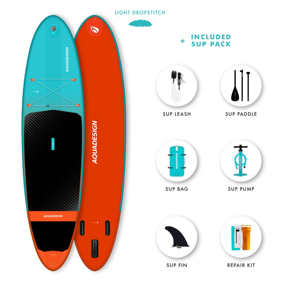 SUP Gonflable Django Aquadesign - Technologie Dropstitch Light Weight ultra légère - Pack complet web spécial Stand Up Paddle Board.