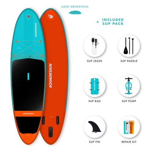 SUP Gonflable Luckey Aquadesign - Technologie Dropstitch Light Weight ultra légère - Pack complet web spécial Stand Up Paddle Board.