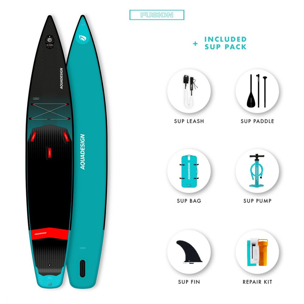 SUP Gonflable First Aquadesign - Technologie Fusion Dropstitch race touring- Pack complet web spécial Stand Up Paddle Board.
