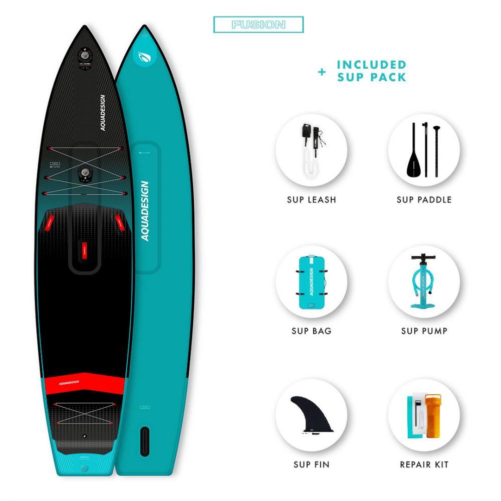 SUP Gonflable Trekker Aquadesign - Technologie Fusion Dropstitch vitesse et stabilité- Pack complet web spécial Stand Up Paddle Board.