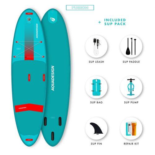 SUP Gonflable Sigma Aquadesign - Technologie Fusion Dropstitch vitesse et stabilité - planche pour écoles- Pack complet web spécial Stand Up Paddle Board.
